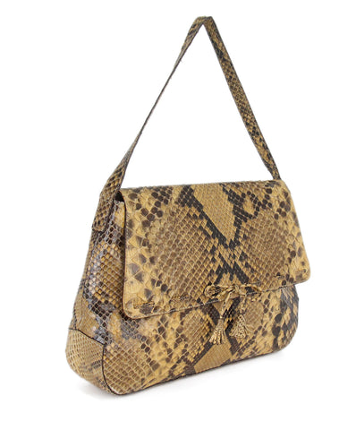 Anya Hindmarch brown natural snake skin shoulder bag 1