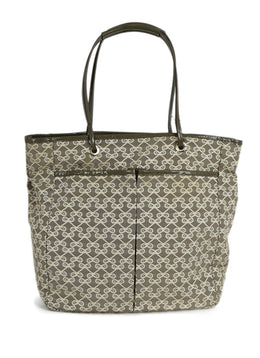 Anya Hindmarch Neutral Taupe Canvas Ivory Print Patent Trim Tote Handbag 1