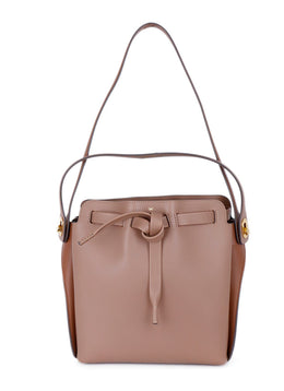 "Anya Hindmarch ""Shoelace Drawstring"" Tan Leather Handbag 1"