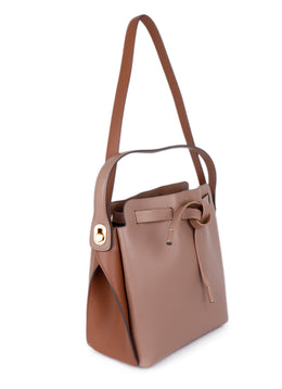 "Anya Hindmarch ""Shoelace Drawstring"" Tan Leather Handbag 2"