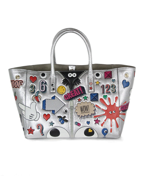 Anya Hindmarch Metallic Silver Multicolor Leather Tote Handbag 1