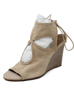 Heels Aquazzura Shoe Size US 6 Neutral Beige Leather Wedge Sp 21 Storage Shoes