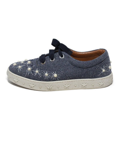 Aquazzura blue denim pearl trim sneakers 1
