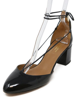 Aquazzura Black Patent Leather Sandals with Wrap Ankle Detail 1