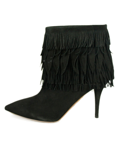 Aquazzura Black Suede Fringe Booties 1
