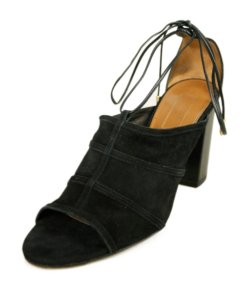 Aquazzura Black Suede Leather Ankle Strap Shoes 1