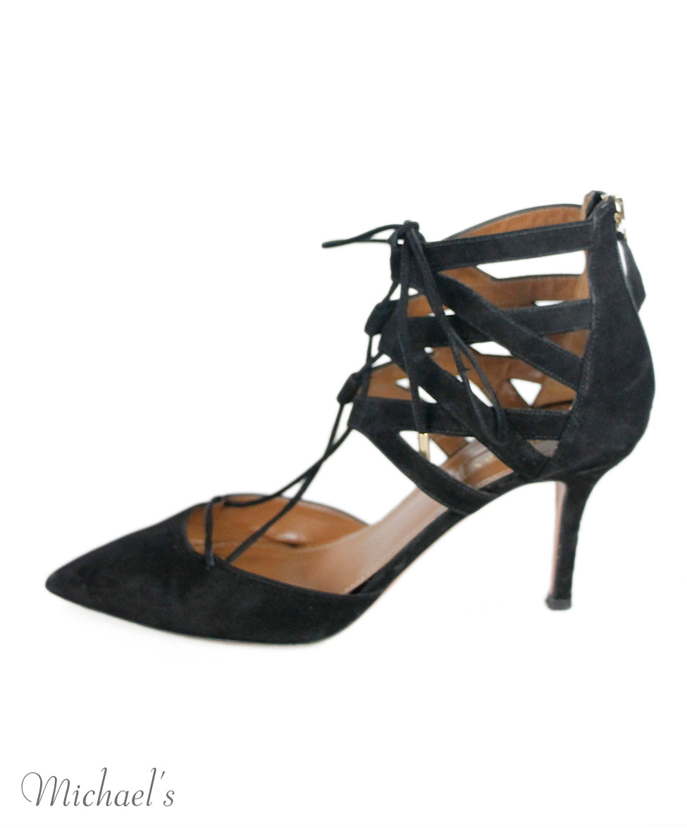 Aquazzura Black Suede Shoes Sz 38.5