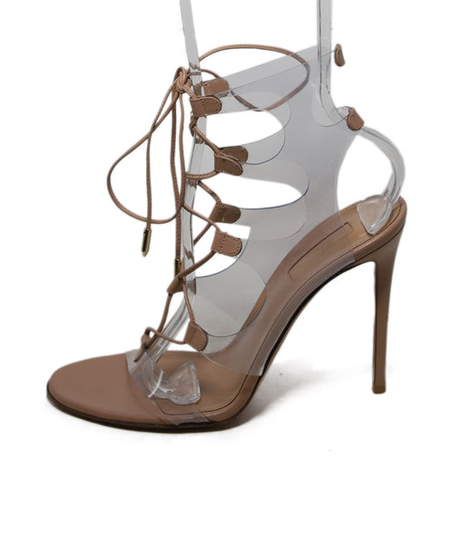 Aquazzura Nude Leather Lucite Heels 1