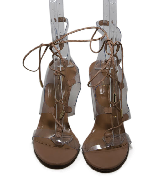 Aquazzura Nude Leather Lucite Heels 3