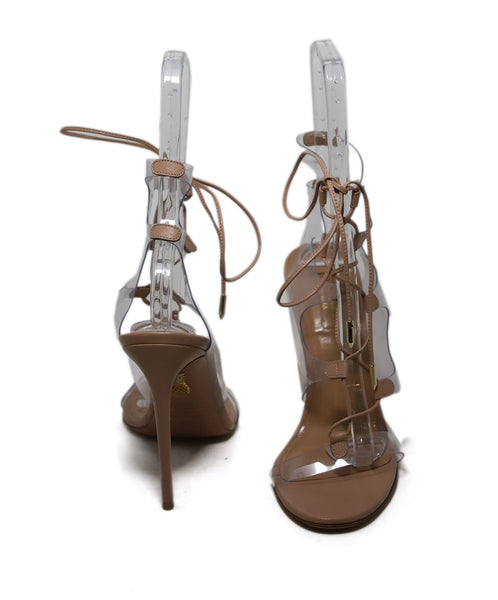 Aquazzura Nude Leather Lucite Heels 2