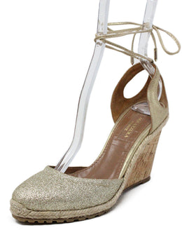 Aquazzura Metallic Gold Leather Wedges with Ankle Strap 1
