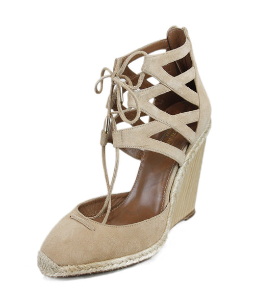 Aquazzura Beige Lace-up Wedges Sz 38.5