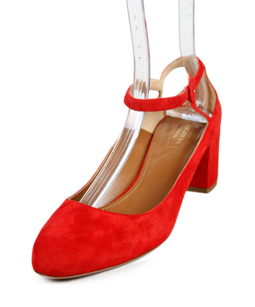 Aquazzura Red Suede Shoes Sz 41