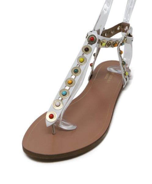 Aquazzura White Multi Leather Sandals 1