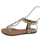 Aquazzura White Multi Leather Sandals 2