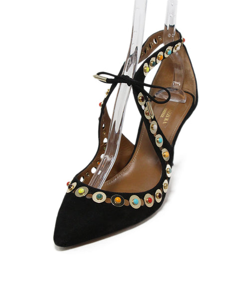 Aquazzura black suede gold metallic disks 1