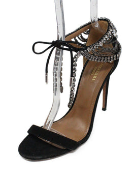 Aquazzura Black Suede Rhinestone Shoes 1