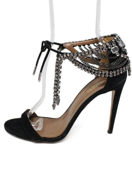 Aquazzura Black Suede Rhinestone Shoes 2