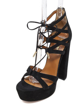 Platform Aquazzura Shoe Size US 7.5 Black Suede Strappy Shoes