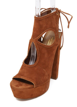 Aquazzura Cognac Suede Platform Shoes