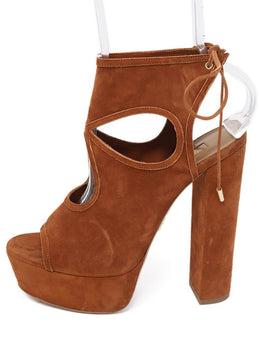Aquazzura Cognac Suede Platform Shoes 1