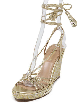 Aquazzura Gold Braided Leather Wedge