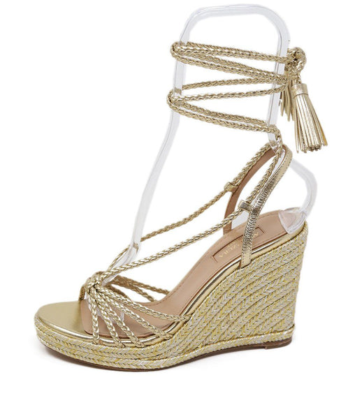 Aquazzura Gold Braided Leather Wedge 1
