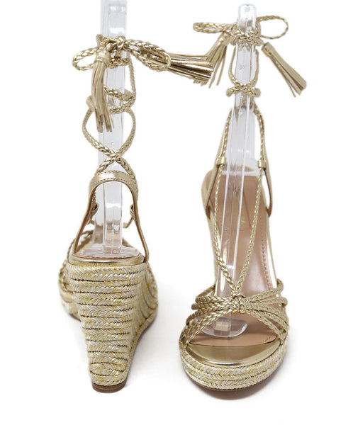 Aquazzura Gold Braided Leather Wedge 2