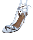 Aquazzura Metallic Silver Leather Sandals Shoes 1