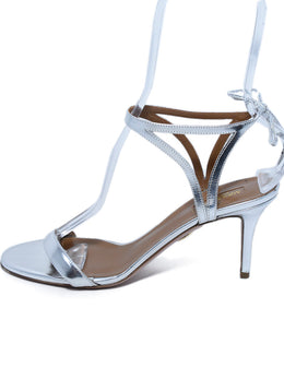 Aquazzura Metallic Silver Leather Sandals Shoes 2
