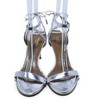 Aquazzura Metallic Silver Leather Sandals Shoes 4