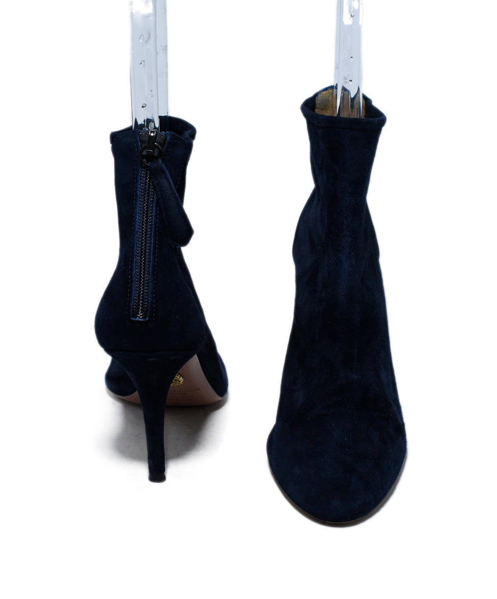 Aquazzura Blue Navy Suede Booties 3