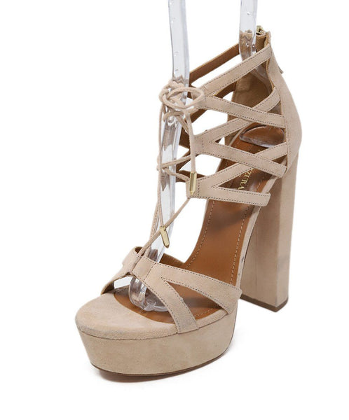 Aquazzura Neutral Tan Suede Strappy Shoes