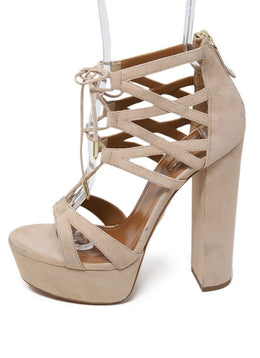 Aquazzura Neutral Tan Suede Strappy Shoes 1
