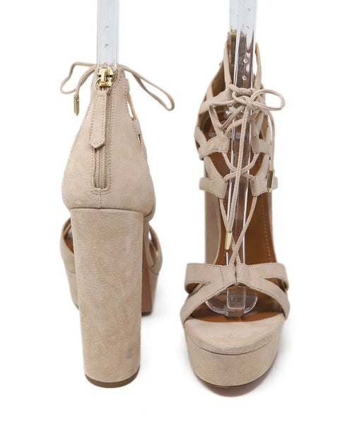 Aquazzura Neutral Tan Suede Strappy Shoes 2