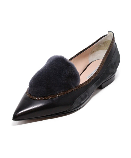 Aquilano Rimondi Grey Black Suede Brown Leather Fur Flats 1