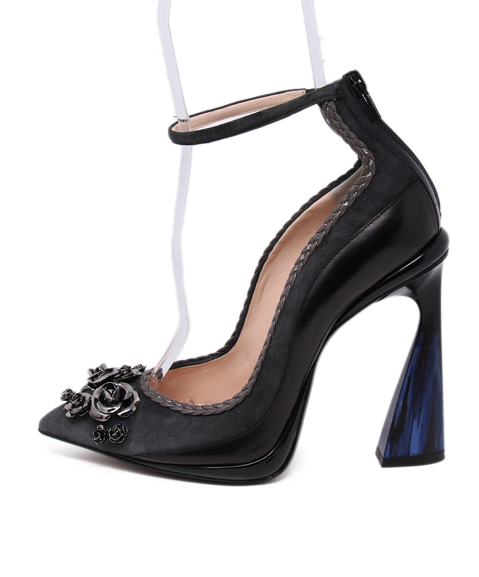 Aquilano Rimondi Grey Black Suede Leather Blue Heel 2
