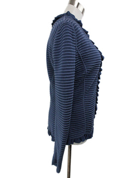 Armani Collezioni Blue Cotton Ribbed Sweater 2