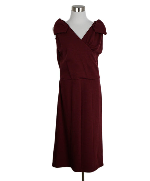 Armani Collezioni Red Burgundy Wool Dress 1