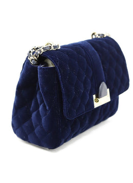 Shoulder Bag Gold Hardware Aspinal of London Blue Navy Velvet Leather Handbag 2