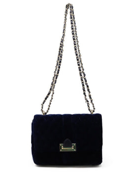 Shoulder Bag Gold Hardware Aspinal of London Blue Navy Velvet Leather Handbag