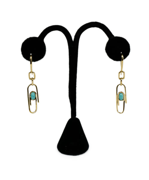 Aurelie Bidermann Metallic Goldplated Turquoise Paperclip Earrings 1