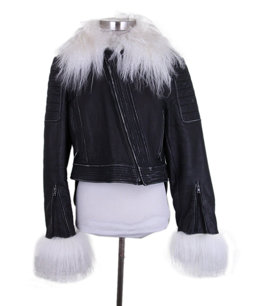 BCBG Black Fuax Leather white fur trim jacket 1