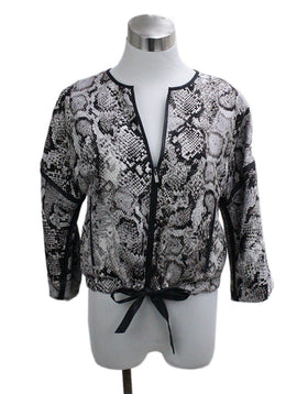 Bcbg Grey Black Snake Skin Print Viscose Jacket
