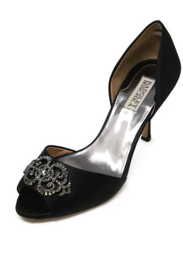 Badgley Mischka Black Satin Rhinestone Heels 1