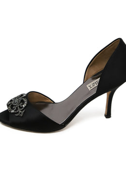 Badgley Mischka Black Satin Rhinestone Heels 2