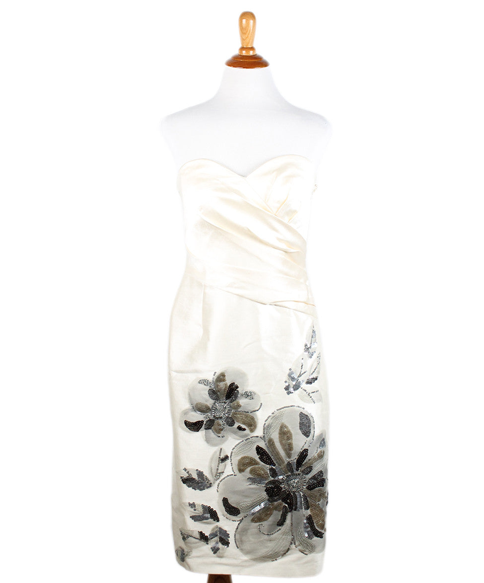 Badgley Mischka Ivory Wool Silk Embroidery Dress Sz 2 - Michael's Consignment NYC  - 1