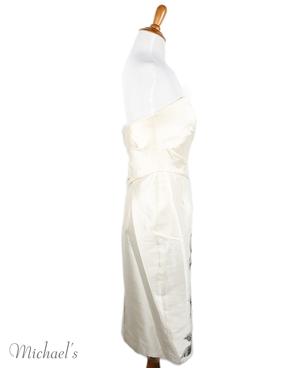 Badgley Mischka Ivory Wool Silk Embroidery Dress Sz 2 - Michael's Consignment NYC  - 2
