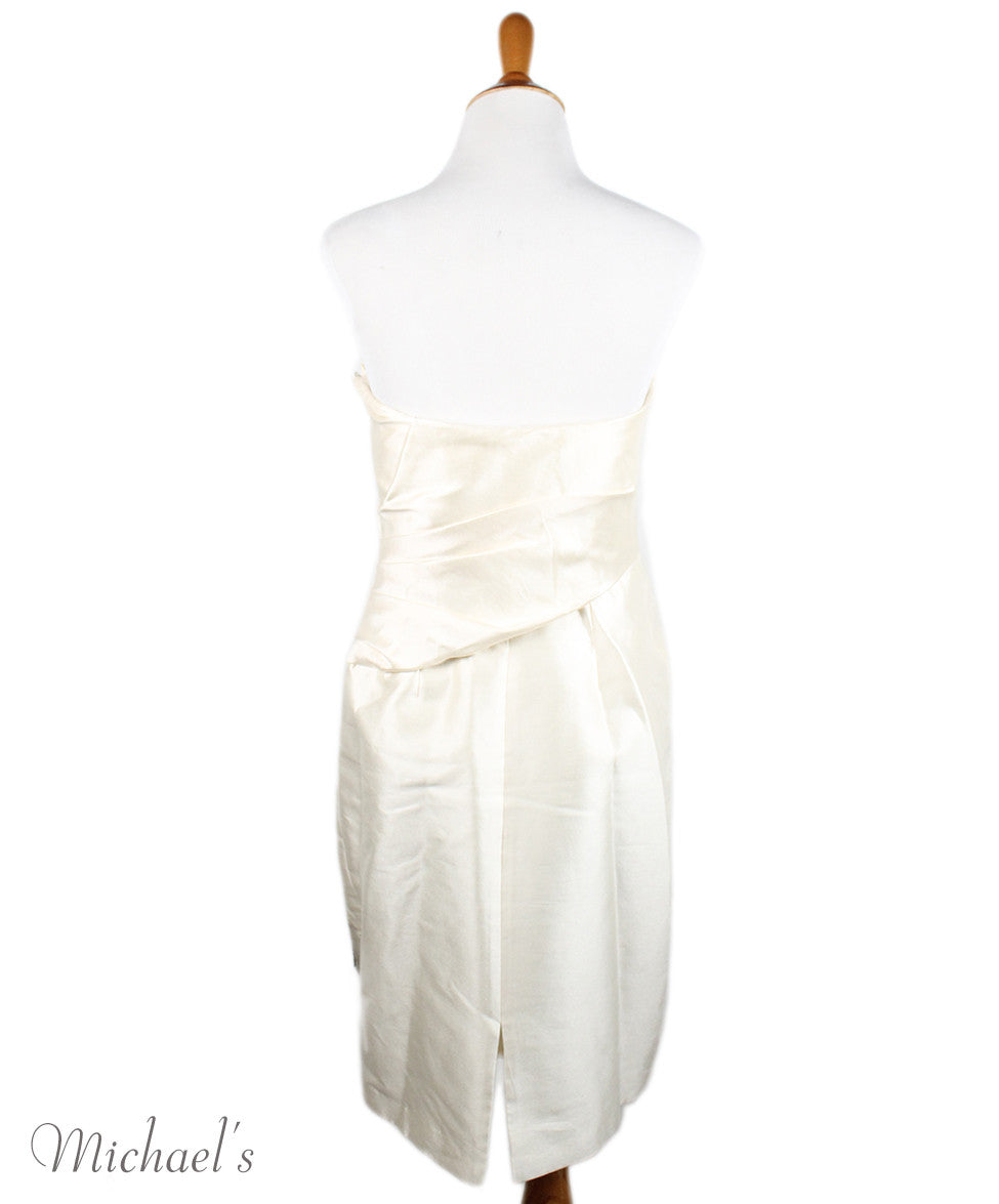 Badgley Mischka Ivory Wool Silk Embroidery Dress Sz 2 - Michael's Consignment NYC  - 3