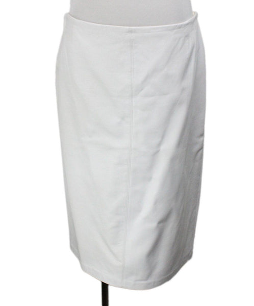 Badgley Mischka White Leather Skirt 1